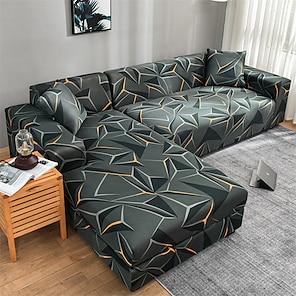 ieftine -husa extensibila pentru canapea slipcover canapea elastica canapea fotoliu canapea fotoliu 4 sau 3 locuri forma l imprimare geometrica moale durabil lavabil