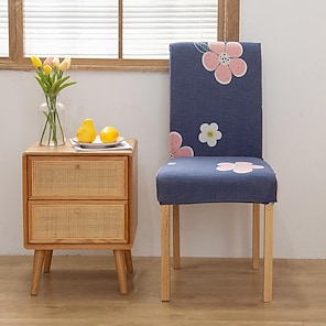 povoljno -rastezljivi navlaka za kuhinjsku stolicu za večeru crna vodoodbojna cvjetni cvijet geometrijski mekano izdržljivo perivo