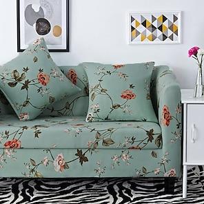 billiga -stretch sofföverdrag överdrag elastisk sektion soffa fåtölj loveseat 4 eller 3 sits l form blommig blomma mjuk slitstark (gratis örngott)