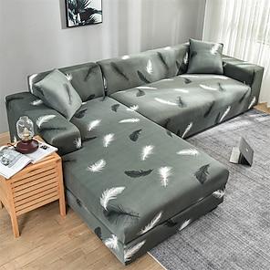 Недорогие -эластичный чехол для дивана, эластичный чехол для дивана, кресло для влюбленных, 4 или 3 места, l-образная форма, серый узор с перьями