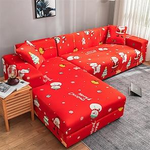 povoljno -božićni djed Mraz navlaka za kauč navlaka elastični kauč na rasklapanje fotelja loveseed 4 ili 3 sjedala crveni uzorak snjegovića ispis mekano izdržljivo perivo