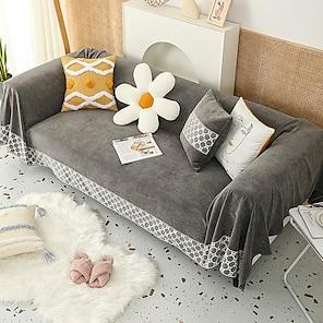 billiga -soffa filt lock handduk slipcover sektion soffa fåtölj loveseat 4 eller 3 sits l form grå vanlig massiv rutig stil