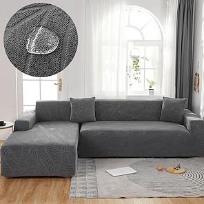 Недорогие -эластичный чехол для дивана чехол для дивана жаккардовый эластичный секционный диван кресло для влюбленных 4, 4 или 3 места l форма черный серый коричневый водоотталкивающий цветочный цветок
