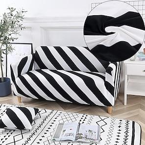 tanie -Rozciągliwa narzuta na sofę narzuta elastyczna kanapa segmentowa fotel loveseat 4 lub 3 osobowa l kształt biały czarny geometryczny miękki trwały zmywalny