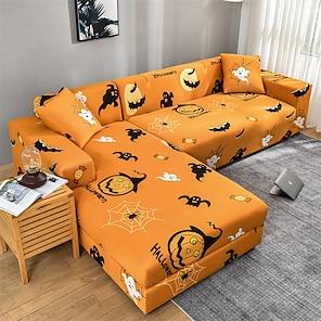 Недорогие -Хэллоуин призрак тыквы эластичный чехол для дивана эластичный секционный диван кресло для влюбленных 4 или 3 мест l форма пылезащитный