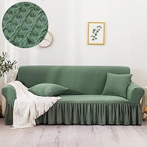 halpa -klassinen ruudullinen jacquard-hame-sohvanpäällinen 1-osainen sohvanpäällinen, joka sopii 1-4-paikkaiselle l-muotoiselle sohvalle pehmeä joustava liukukangas spandex-jacquard-kangas helppo asentaa