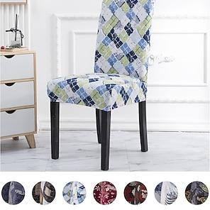 abordables -Funda de silla floral para comedor, funda de asiento antipolvo lavable extraíble de spandex suave, protector para hotel, oficina, ceremonia, banquete, banquete de boda