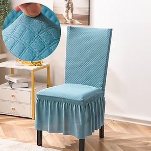 ieftine -Husa pentru scaune de bucatarie extensibila acoperire cu bule de zăbrele pentru petrecerea mesei albastru cu fusta moale confortabilă fermă pentru scaune elegante