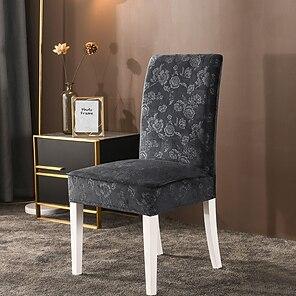 billige -stretch kjøkken stol trekk slipcover blomst jacquard fløyel til middag fest lake blå myk komfortable fast elegante stoler dekker