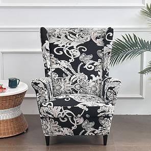 رخيصةأون -أغطية كرسي الجناح - قطعتان من أغطية الأريكة الممتدة من الألياف اللدنة وأغطية الكراسي بذراعين ذات الأذرع بنمط طباعة الأذرع واقي أثاث من القماش لغرفة المعيشة كرسي الجناح الخلفي