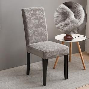 billiga -stretch köksstol överdrag slipcover baby sammet för middag fest ljusgrå mjuka bekväma fasta eleganta stolar lock