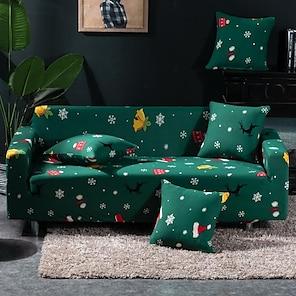 Недорогие -рождественский стрейч чехол для дивана эластичный секционный диван кресло для влюбленных 4 или 3 мест l форма красный зеленый для детей подарок снежный олень мягкое прочное рождественское украшение