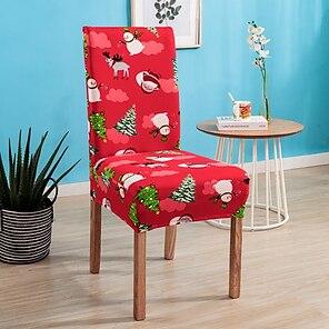 baratos -Natal papai noel cadeira de cozinha capa de capa vermelha para jantar festa boneco de neve festival alta elasticidade moda impressão quatro estações universal tecido super macio retro