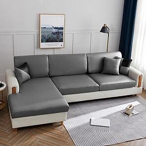 abordables -sofá elástico funda de cojín del asiento funda elástica sillón sofá de dos plazas 4 o 3 plazas pu alta elasticidad cuatro estaciones universal tela súper suave retro venta caliente