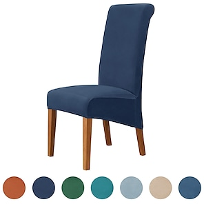 halpa -samettiset muhkeat ruokapöydän tuolinpäälliset, joustava tuolinpäällinen, spandex -korkeat selkänojatuolin suojukset istuimen liukukangas, jossa joustava nauha ruokasaliin, häät, seremonia, juhla