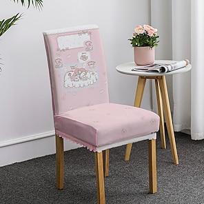 abordables -Fundas para sillas de comedor con estampado de dibujos animados para niños, fundas para sillas elásticas, fundas protectoras para sillas con respaldo alto de spandex, fundas para asientos con banda