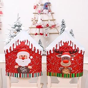 billige -1 stk julestol bagcover til spisestue, julemanden snemand rensdyr julemiddagsstole betræk, stol slipcover til køkken hotel ferie fest indretning
