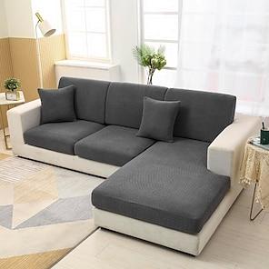 billiga -stretch soffa sittdyna överdrag täcka elastisk soffa fåtölj loveseat 4 eller 3 sits solid jacquard hög elasticitet fyra säsonger universal supermjukt tyg retro het försäljning