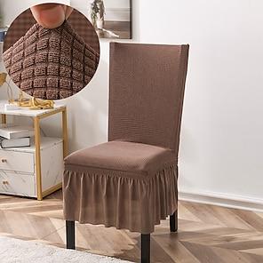 ieftine -Husa pentru scaune de bucatarie extensibila jacquard pentru petrecerea mesei maro cu fusta moale confortabil firma scaune elegante huse