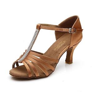 voordelige -Dames Latin schoenen Eenvoudig Hoge Hak Zwart Bruin T-riempjes Satijn / Leer
