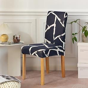 baratos -elástico elástico de capa de cadeira de cozinha para festa de jantar preto geométrico dustprof macio durável lavável