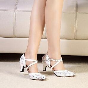 voordelige -Dames Moderne dansschoenen Ballroom schoenen Hakken Patroon / Print Dikke hak Roze en Wit Marine Wit Gesp Kruisriem Volwassenen / Prestatie