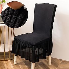 Недорогие -эластичный чехол для кухонного стула, жаккардовый чехол для обеденной вечеринки, черный с юбкой, мягкий, удобный, твердый, элегантный, чехлы для стульев