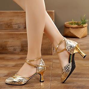 voordelige -Dames Moderne dansschoenen Ballroom schoenen Professioneel Glitter Gesplitst Lage hak Bronzen Goud Zilver Gesp / Oefenen