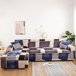 baratos -capa de sofá extensível capa elástica sofá secional poltrona poltrona 4 ou 3 lugares em forma de l geométrica dustprof macio durável lavável