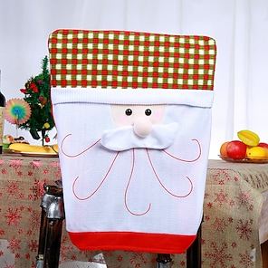 abordables -1 pieza funda trasera de silla navideña para comedor, santa claus muñeco de nieve reno navidad cena sillas cubierta, funda para silla para cocina hotel decoración de fiesta navideña