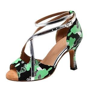 voordelige -Dames Latin schoenen Dansschoenen Professioneel Patroon / Print Slanke hoge hak Grijs Groen Gesp Volwassenen