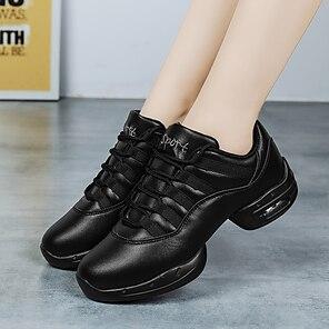 voordelige -Dames Danssneaker Sneaker Dikke hak Ronde Teen Wit Zwart Veters Tiener Volwassenen / Prestatie / Oefenen