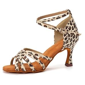 voordelige -Dames Latin schoenen Salsa schoenen Dansschoenen Professioneel Luipaard Patroon / Print Cuba-hak Open teen Zwart goud Zwart / Rood Luipaard Gesp Volwassenen Satijn