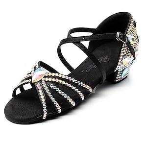voordelige -Dames Latin schoenen Tango Schoenen Dansschoenen Hakken Sneaker Kristal / Strass Lage hak Open teen Rood Zwart Bruin Gesp Kruisriem Tiener Volwassenen Glitter kristal pailletten juwelen