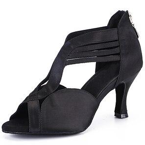 voordelige -Dames Latin schoenen Professioneel Hakken Effen kleur Slanke hoge hak Open teen Zwart Bruin Rits Volwassenen Satijn
