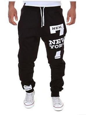 cheap Print Shorts & Trousers-Men's Sporty / Active Sports Weekend Loose wfh Sweatpants Pants - Letter Black / Red Dark Gray Light gray XL XXL XXXL / Drawstring