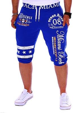 cheap Print Shorts & Trousers-Men's Active / Basic Sports Weekend Loose / wfh Sweatpants / Shorts Pants - Letter Print Black Gray Blue L XL XXL