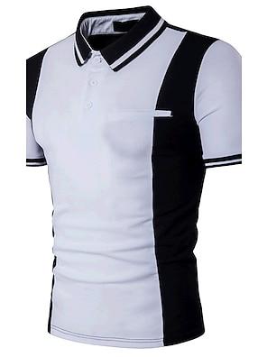 cheap Men's Polos-Men's Polo Color Block Patchwork Short Sleeve Daily Slim Tops Cotton Active Shirt Collar White Black / Summer