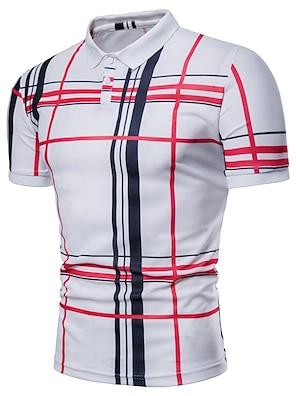 cheap Men's Polos-Men's Polo Striped Plaid Plus Size Print Short Sleeve Daily Tops Basic Shirt Collar White Navy Blue Gray / Summer