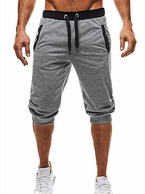 cheap Print Shorts & Trousers-Men's Basic / Street chic Daily Sports Holiday Chinos / Shorts wfh Sweatpants - Color Block Black & Gray, Patchwork / Drawstring Summer Fall Black Dark Gray Light gray L XL XXL / Beach