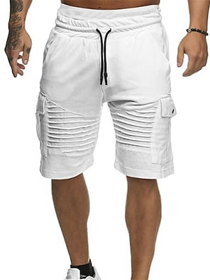 cheap Print Shorts & Trousers-Men's  Shorts Basic Daily Casual Half Trousers Pants Solid Colored Drawstring White Red Green