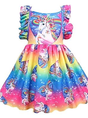 cheap Dresses-Kids Little Girls' Dress Unicorn Rainbow Floral Patchwork Holiday Pleated Print Rainbow Knee-length Sleeveless Active Sweet Dresses Regular Fit