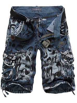 cheap Print Shorts & Trousers-Men's Basic Military Daily Shorts Pants Camo / Camouflage Knee Length Blue Yellow Wine Army Green Dark Gray
