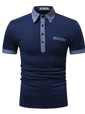 cheap Men's Polos-Men's Polo Simple Short Sleeve Sports & Outdoor Tops Casual / Daily Casual / Sporty Shirt Collar White Blue Navy Blue