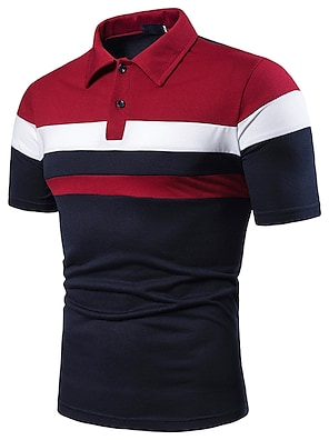 cheap Men's Polos-Men's Polo Simple Patchwork Short Sleeve Sports & Outdoor Tops Cotton Casual / Daily Casual / Sporty Shirt Collar Red Light gray Navy Blue