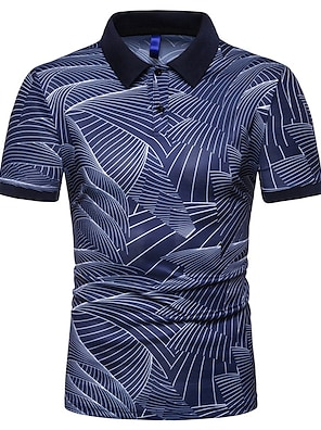 cheap Men's Polos-Men's Polo Graphic Short Sleeve Street Slim Tops Cotton Shapewear Vacation Holiday Casual / Sporty Shirt Collar White Black Navy Blue