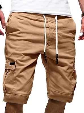 cheap Basic Shorts & Pants-Men's Half Trousers With Multi-pockets Basic Chinos Shorts Pants Solid Colored Knee Length White Black Khaki Green Gray