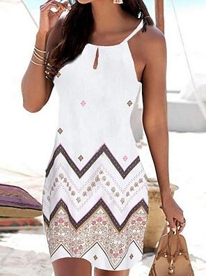 cheap Women's Dresses-Women's Strap Dress Short Mini Dress White Black Blue Sleeveless Geometric Print Summer Round Neck Casual Boho Holiday Beach 2021 S M L XL