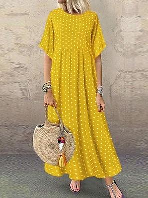cheap Women's Dresses-Women's Swing Dress Maxi long Dress Yellow Wine Navy Blue Short Sleeve Polka Dot Print Summer Round Neck Hot Casual Holiday 2021 L XL XXL 3XL 4XL 5XL / Plus Size / High Waist / Plus Size