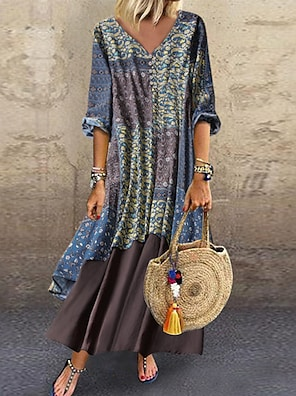 cheap Women's Dresses-Women's A Line Dress Maxi long Dress Blue Red Green Light Blue 3/4 Length Sleeve Floral Layered Print Spring & Summer V Neck Hot Casual Holiday Loose 2021 M L XL XXL 3XL 4XL 5XL / Plus Size